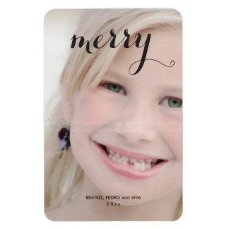 Merry Holiday Photo Simple Christmas Script Black Magnets