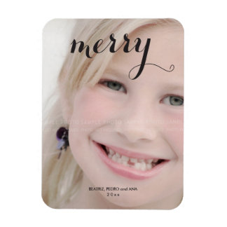 Merry Holiday Photo Simple Christmas Script Black Rectangle Magnet