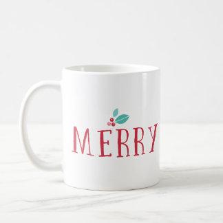 Merry Holly Berries Christmas Coffee Mug