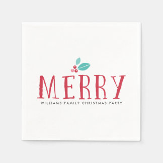 Merry Holly Berries Christmas Disposable Serviette