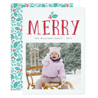 Merry Holly Berries Christms Cards