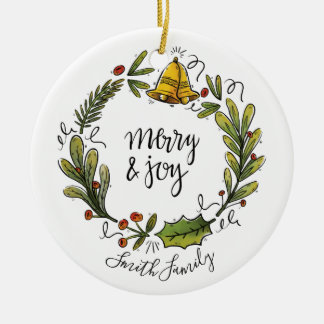 Merry & Joy Watercolor Hand Drawn Wreath Ornament