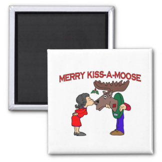 Merry Kiss A Moose Square Magnet