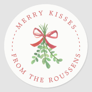 Merry Kisses Personalized Holiday Stickers