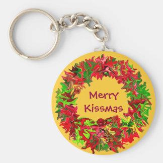 merry kissmas key ring basic round button key ring