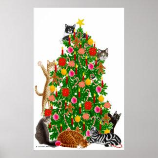 Merry Kitty Christmas Tree Print