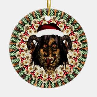 Merry Krampus Round Ceramic Decoration