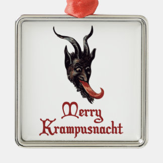 Merry Krampusnacht Silver-Colored Square Decoration