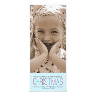 Merry Little Christmas - Blue 10 Cm X 24 Cm Invitation Card