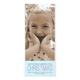 Merry Little Christmas - Blue 4x9.25 Paper Invitation Card