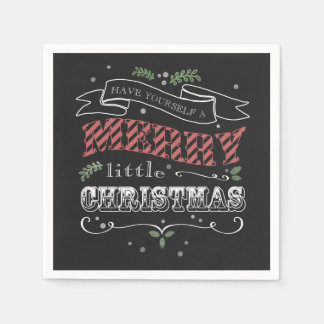 Merry Little Christmas Cocktail Napkins Paper Napkins