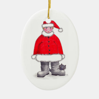 Merry Little Christmas Ceramic Oval Decoration
