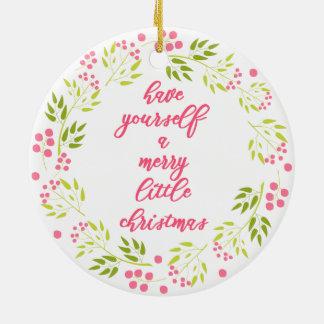 Merry little Christmas - Flower Wreath Ornament