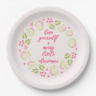 Merry little Christmas Flower Wreath Paper Plates