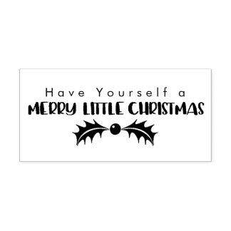 Merry Little Christmas Holly Leaf Rubber Stamp