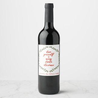 Merry little Christmas - Holly Wreath Bottle Label