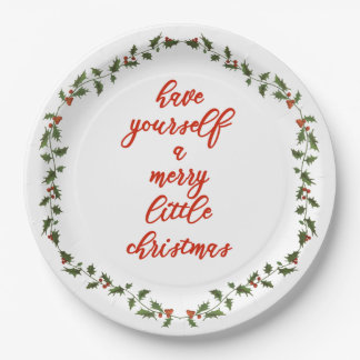 Merry little Christmas - Holly Wreath Paper Plates
