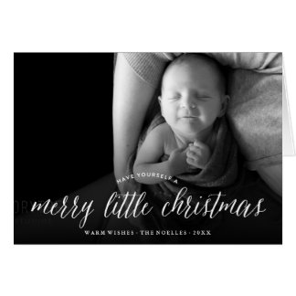 Merry Little Christmas Modern Holiday Photo Card