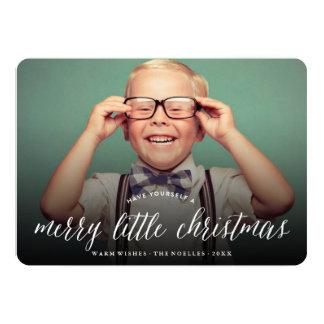 Merry Little Christmas Modern Holiday Photo Card 13 Cm X 18 Cm Invitation Card