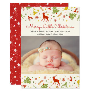Merry Little Christmas New Born Baby First Xmas Card