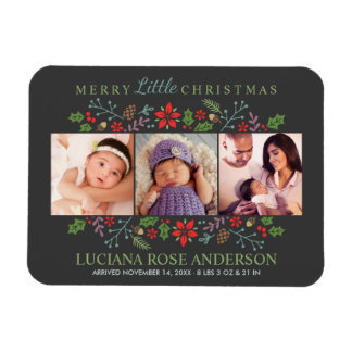 Merry Little Christmas | Photo Birth Announcement Magnet