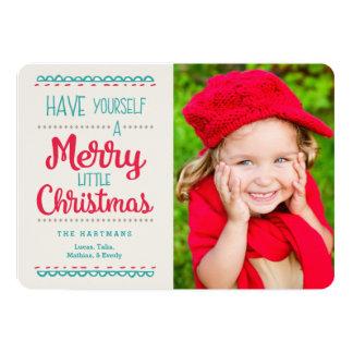 Merry Little Christmas Photo Card   Red Aqua 13 Cm X 18 Cm Invitation Card