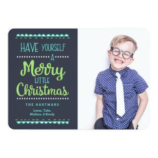 Merry Little Christmas Photo Holiday Card 13 Cm X 18 Cm Invitation Card