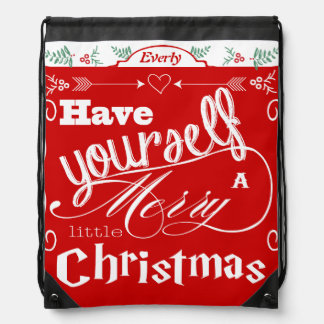 Merry Little Christmas Red and White Holly Arrows Drawstring Bags