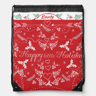 Merry Little Christmas Red and White Holly Arrows Rucksacks