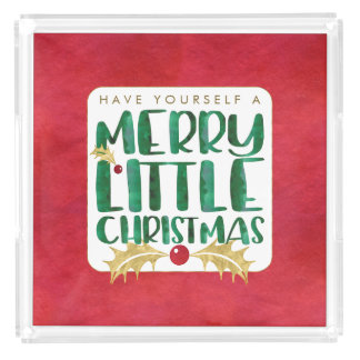 Merry Little Christmas Red Gold Green Watercolor Acrylic Tray