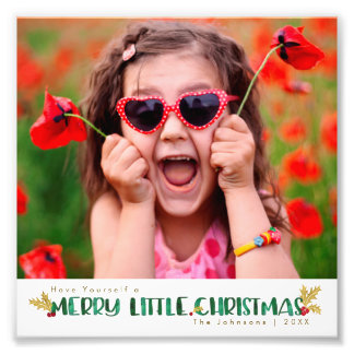 Merry Little Christmas Red Gold Green Watercolor Photo Print