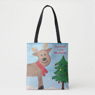 Merry Little Christmas Reindeer Tote