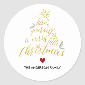Merry Little Christmas round sticker