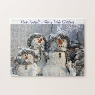 Merry little Christmas snowmen puzzle