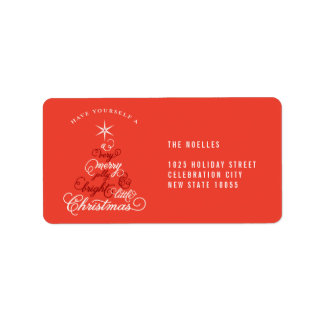Merry Little Christmas Tree Baby Holiday Labels