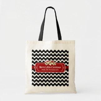 Merry Little Christmas Wavy Chevron Poinsettia Tote Bag
