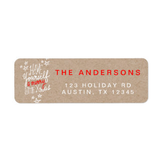 Merry Little Xmas Typography Kraft Paper Holiday Return Address Label