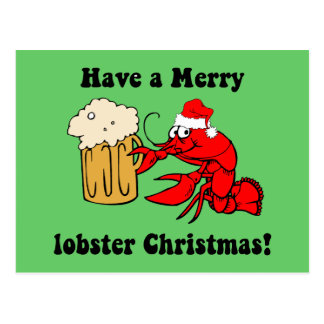 Merry lobster Christmas Postcard