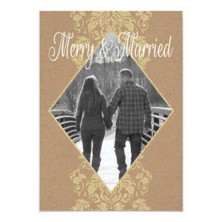Merry & Married Damask First Christmas Together Card