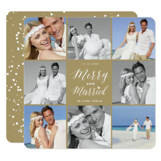 Merry & Married First Christmas Photo Collage Card 13 Cm X 13 Cm Square Invitation Card