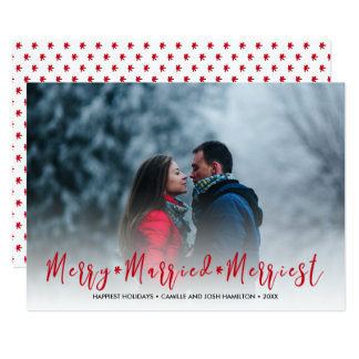 Merry, Married, Merriest Christmas Holiday Photo Card