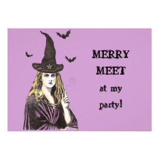 MERRY MEET at my party WITCH invitation