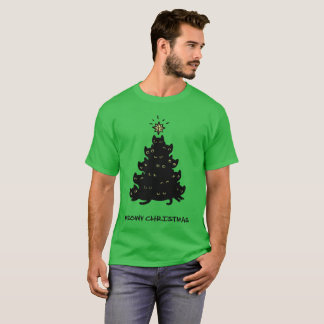 Merry Meowy Christmas Tree Cat T-Shirt