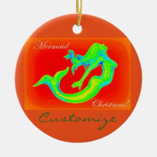 Merry Mermaid Christmas  customized Christmas Ornament