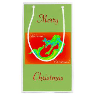 Merry Mermaid Christmas mistletoe Small Gift Bag