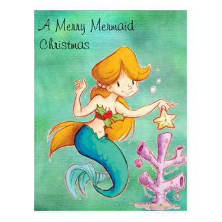 Merry Mermaid Christmas Postcard