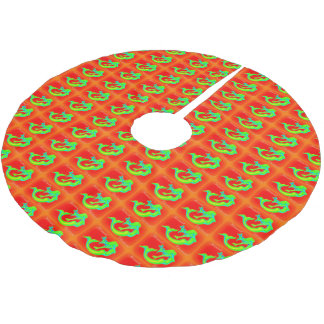 merry mermaid christmas red/green brushed polyester tree skirt