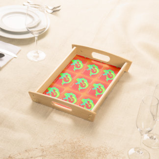 merry mermaid christmas red/green serving tray