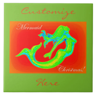 merry mermaid christmas red/green tile