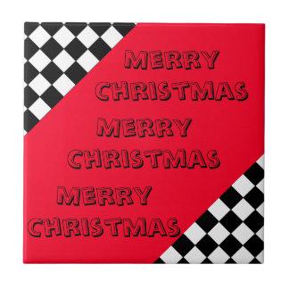 Merry Merry Christmas Designer Bright Red Xmas Tile